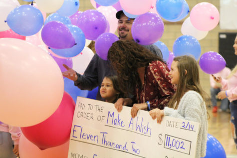 Jada and her family receive a check for over $11,000 raised by Eagle Valley High School's students, staff, and families.