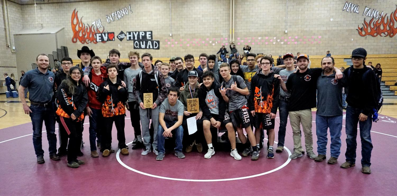 Eagle Valley Wrestling team poses for a group photo after a successful tournament.