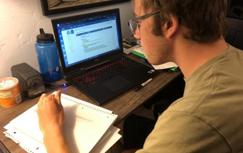 Carter Josef '21 completes some online assignments for his e-learning classes.