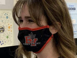 Hannah Rippstein '22 wears the EVHS mask for Devil Dancer practices.