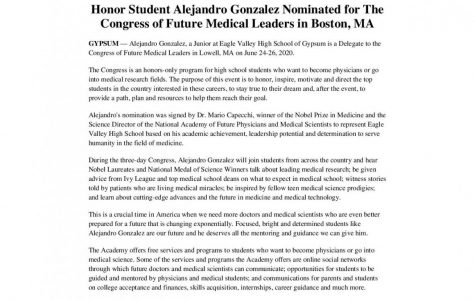 Alejandro Gonzalez Mendez '21 nominated to Congress of Future Medical Leaders
