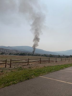 Smoke was visible from the ignition throughout town.