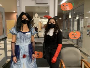 Ms. Turner and Ms. Alamos dressed up in costumes and decorated the front office for Halloween.